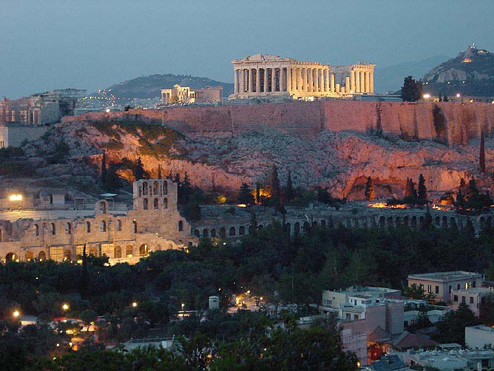 Greece - Athens - Acropolis by night -  by Gene Burch