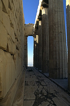The northern pteron of the Parthenon. - Recent examination of this area by M. Korres has discovered cuttings in the marble floor for a small shrine and altar here, possibly indicating the location of an early cult of Athena on this side of the Acropolis.