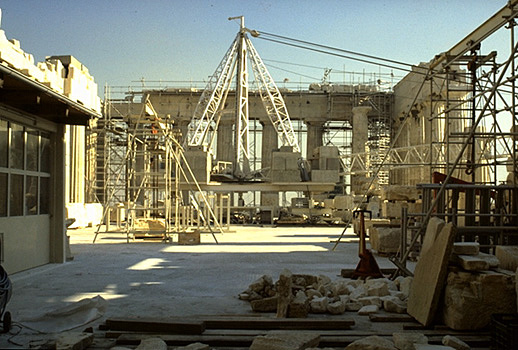 The cella (or naos) of the Parthenon. - View from the inside, at approximately the same location as the statue of Athena Parthenos, looking east.