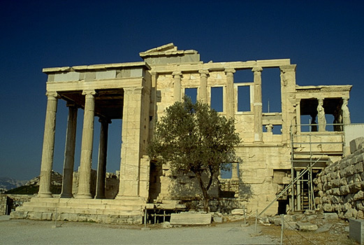 View of the entire west side of the Erechtheion. - Photo taken in 1997.