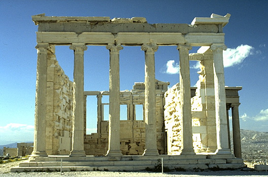 The east (front) side of the Erechtheion. - This side of the temple gives the appearance of a