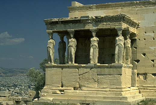 The South Porch or Caryatid Porch of the Erechtheion. Caryatids (or Karyatids) are female figures used as architectural supports in place of columns -- a feature associated with Ionic architecture. - The Roman architect Vitruvius wrote that Caryatids were supposed to represent the women of the southern Greek town of Caryae which supported the invading Persian force in 480 BC. After the Persian Wars, the other Greek states forced them to carry objects