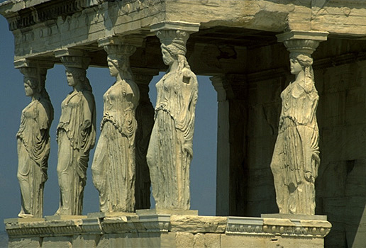 Caryatid Porch of the Erechtheion. Southeast corner. View from the southeast. ATHENS PHOTO GALLERY - ERECTHEION by Kevin T. Glowacki and Nancy L. Klein