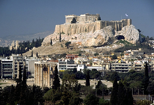 View of the Acropolis, its South and East Slopes, and the Olympieion from the Ardettos Hill. -