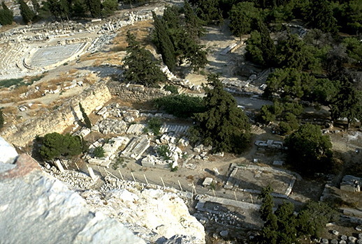 The South Slope of the Acropolis. - Theater of Dionysos and Asklepieion. View from the south wall of the Acropolis. by Kevin T. Glowacki and Nancy L. Klein
