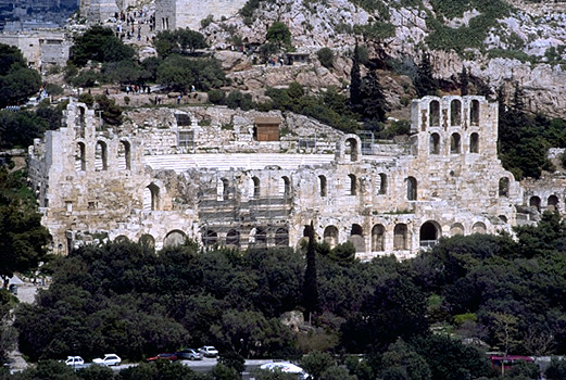 The Odeion of Herodes Atticus on the South Slope of the Acropolis (western half). - View from the southwest (from the Philopappos Monument). Photo taken in 1998. by Kevin T. Glowacki and Nancy L. Klein