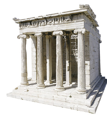 APTEROS NIKI TEMPLE - The ionic temple of Apteros Niki (Featherless Victory), which is being erected today, is situated southwest of the Entrance, on a rampart protecting the main entrace of the Acropolis. A monument of the 5th century bc.