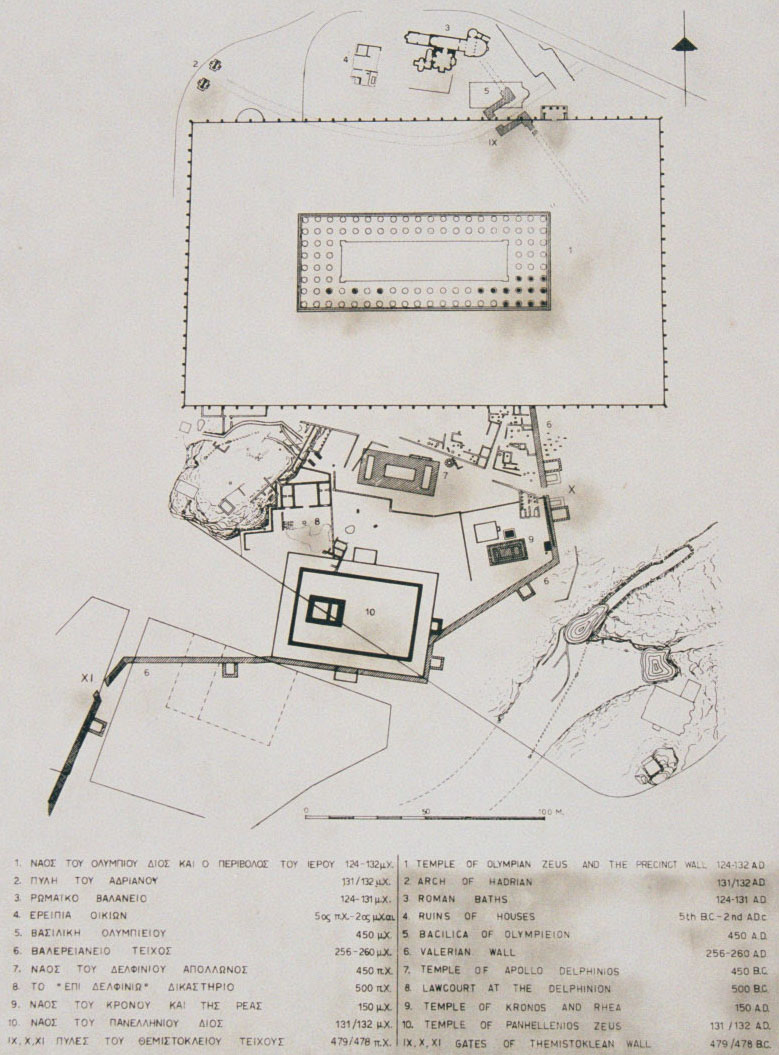 PLAN - Photo from a map at the entrance to the area of Zeus temple