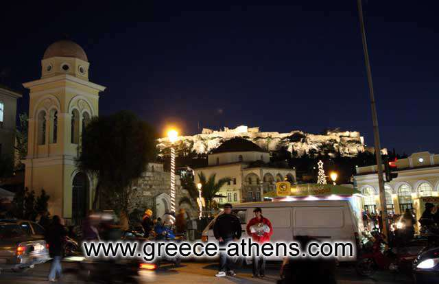 Acropolis view - View of Acropolis from Monastiraki square just after the sunset by Ioannis Matrozos