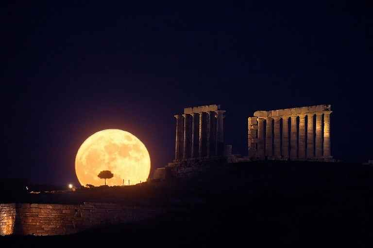 Acropolis - View of Actopolis in the moonlight