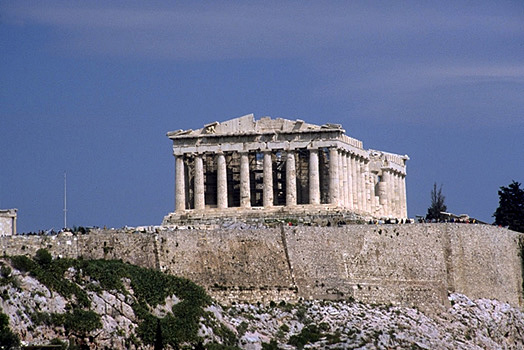 View of the Acropolis and Parthenon from the southwest - Photo taken in 1998. by Kevin T. Glowacki and Nancy L. Klein