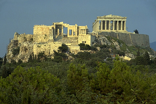 PROPYLAIA - The western approach to the Acropolis, showing the Propylaia, Temple of Athena Nike, and the Parthenon. View from the west (from the Pnyx). by Kevin T. Glowacki and Nancy L. Klein