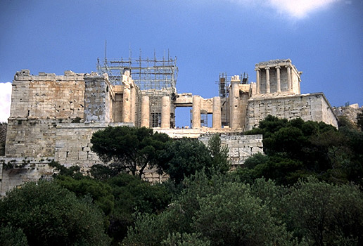 The Propylaia and western ascent to the Acropolis. - View from the west. Photo taken in 1997.