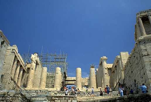 The Propylaia (central section). - Photo taken in 1997. by Kevin T. Glowacki and Nancy L. Klein