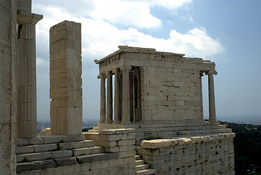 The southwest wing of the Propylaia and Temple of Athena Nike. -