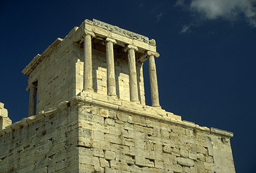 Temple of Athena Nike. - Western facade and northern flank. View from the northwest (from near the Beule Gate).
