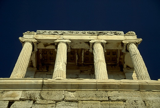 Temple of Athena Nike. Western facade. - View from below the Nike Bastion. by Kevin T. Glowacki and Nancy L. Klein