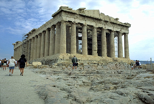 The Parthenon, western facade and northern flank. - View from the northwest (from near the Propylaia).
