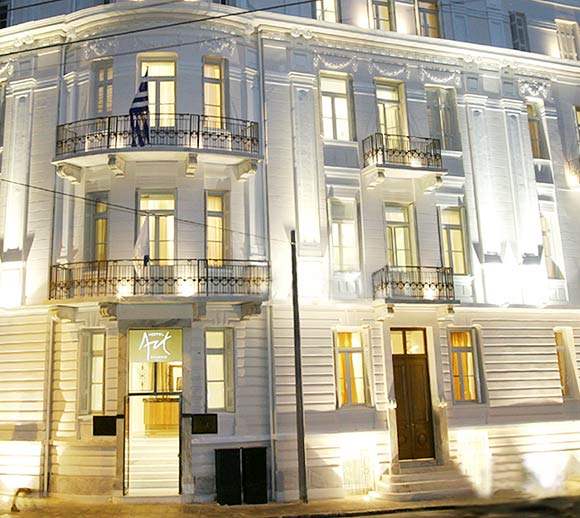 Image of Art Boutique Hotel by night located in center of Athens Greece. CLICK TO ENLARGE