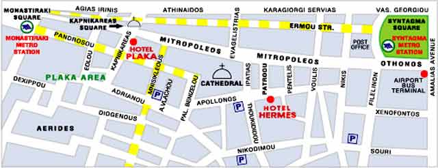 The map of Plaka CLICK TO ENLARGE