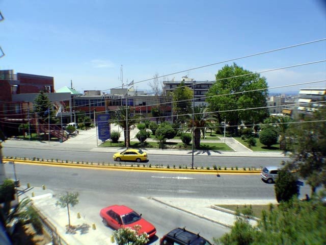 Argyroupolis Municipality Hall, across the road from the balcony where picture was taken CLICK TO ENLARGE