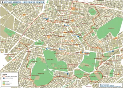 Historical center map Maps Athens Greece