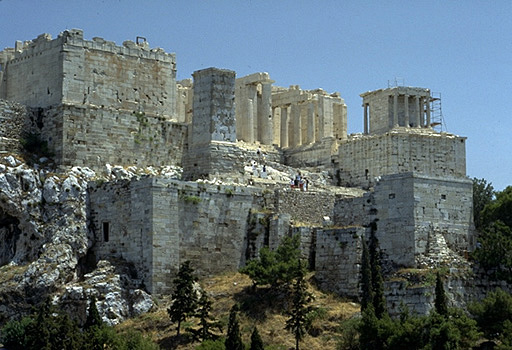 The western end of the Acropolis as seen from the Areopagus. - View from the northwest.