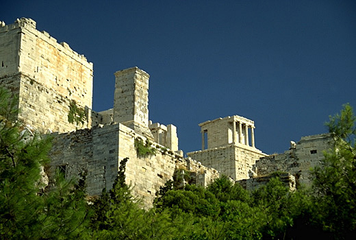 The western approach to the Acropolis, showing the Propylaia and Temple of Athena Nike. - View from the northwest (from Theorias Street).