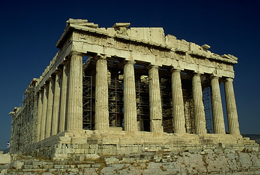 The Parthenon, western facade and northern flank. - View from the northwest.